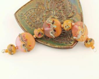 Lampwork Glass Bead Set, Lentil,Pink, Salmon, Terra Cotta,  Etched Matte