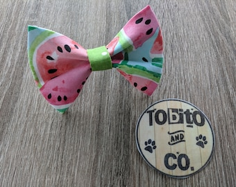 Watermelons dog bow// dog tie// made to order