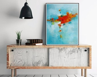 Turquoise abstract Modern Art,blue Contemporary painting,Orange Turquoise wall art,home decor beach living coastal decor,turquoise wall art