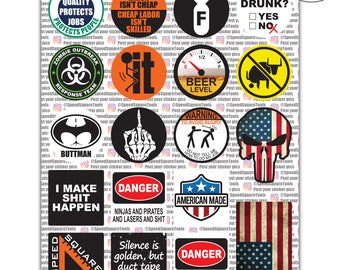 19-Pack Hard Hat, Tool Box Stickers | 100% Vinyl | Proudly MADE IN USA! Funny decals Construction, Electrician, Union, Oilfield, Military