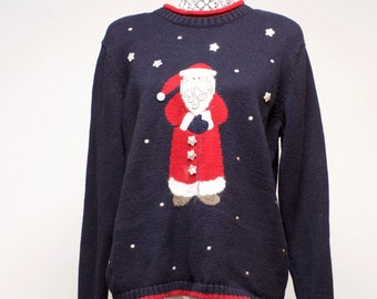 Vintage Women's ugly Christmas Santa sweater by Christopher & Banks size large