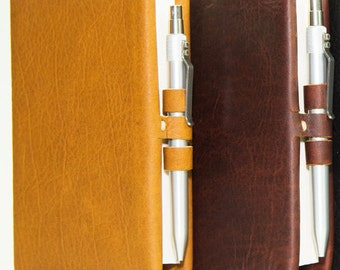 Small Leather Journal with Aluminum Pen in Honey Ginger or Merlot Saddle