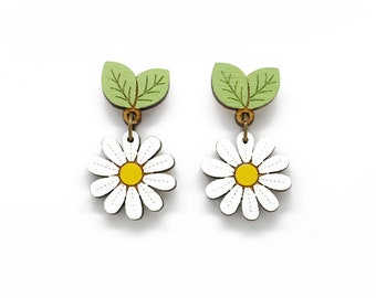 Daisy drop stud earrings - hand painted laser cut flower earrings