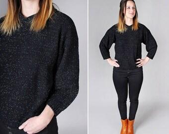 Sparkle Vintage pull en maille - pulls manches longues grand rétro années 80 noir paillettes haut hiver Casual souple confortable chemise - taille moyenne
