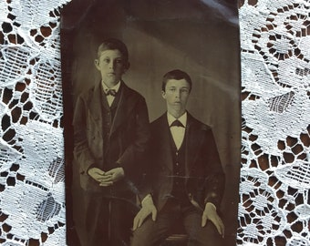 Antique Tintype Photograph of Two Boys