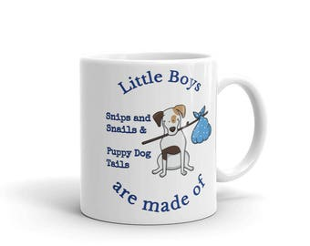 Little Boys are made of Snips and Snails & Puppy Dog Tails Dark Blue Double Sided Mug 11oz 15oz
