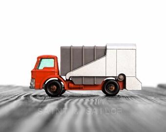 Vintage Orange Garbage Truck  on White and Grey Photo Print,  Wall Decor, Playroom decor,  Kids Room, Nursery Ideas, Gift Ideas,