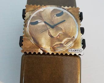 Collectable S.T.A.M.P.S. Golden Soul interchangeable watch, band made in Italy