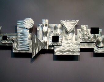 Silver Modern Metal Wall Sculpture - Contemporary Metal Wall Art - 3D Home Decor - Metallic Artwork - Structure by Jon Allen