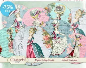 75% OFF SALE Shabby Ladies - Digital card C045 Digital collage sheet printable download digital vintage ladies digital atc card antoinette