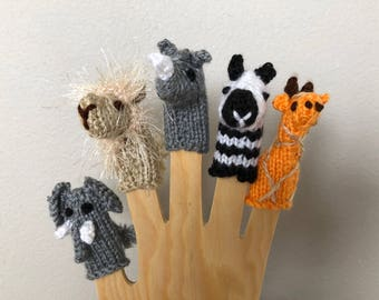Finger Puppet Pattern - Wild Animal Puppets Pattern - Pattern to Knit Puppets - Puppet Pattern - Digital Download