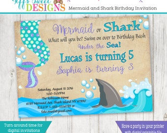 Mermaid And Shark Birthday Brother and Sister Birthday Party - Sibling Invitation - Mermaid and Shark Twins -