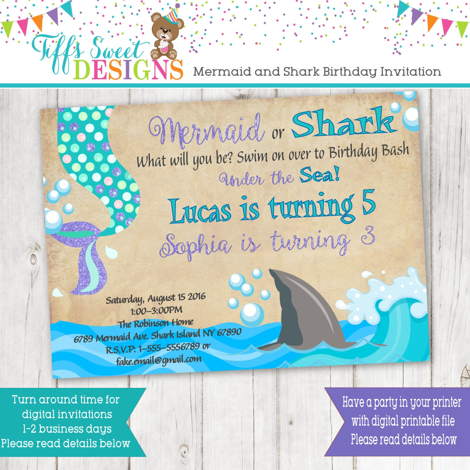 Mermaid And Shark Birthday Brother and Sister Birthday Party