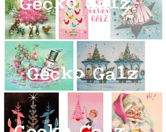 Retro Christmas Color Digital Collage Sheet