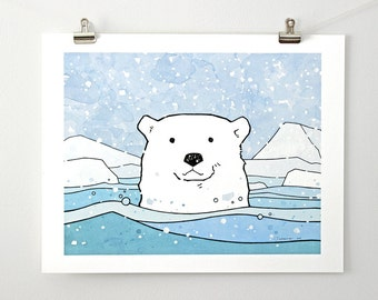 Large Polar Bear Art Print - Arctic Animal Illustration for Kids, 11x14