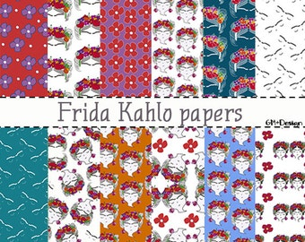 clip art frida kahlo/ Frida Kahlo Folklórico / patterns of Frida Kahlo/ print frida flowers/ birthday girl/ Instant Download/ birthday party