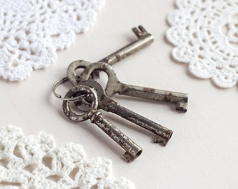 Skeleton key set_old rusty keys_set of four_curtain tieback_gift tags_retro home decor_bow top_farmhouse keys_white metal_industrial decor