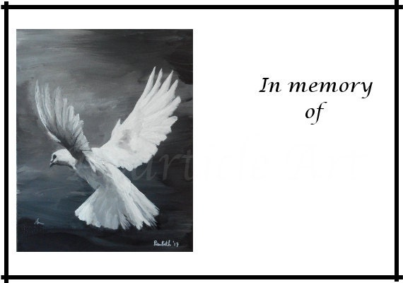 Printable funeral picture template card white dove design
