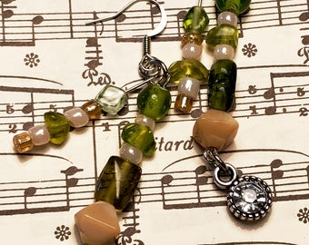 Gifts for Her, Beaded Earrings, Natural Colors, Green, Beige, Silver, Boho