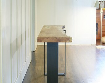 north | west console - from urban salvage live edge maple and recycled content steel - natural edge - coffee table, desk