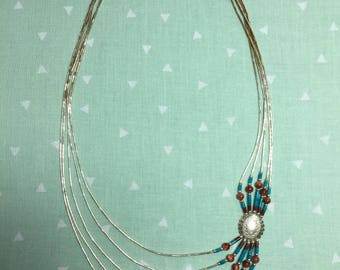 Liquid Silver and Beaded Indian-made Necklace