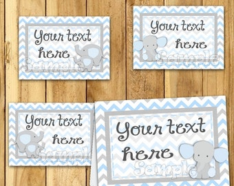 Boy Baby shower Elephant food tent cards Name card Table place card Table decorations baby shower Food Cards Gender Reveal buffet 12 PRECUT