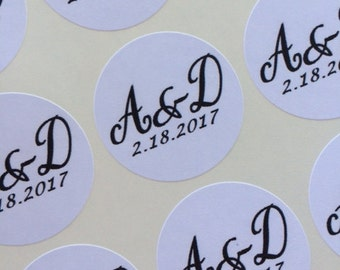 Personalized Wedding Stickers, Wedding Favors Labels, Custom Labels, Wedding Favor Stickers,  Initials & Date, Kraft or White Labels