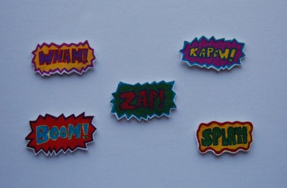 Retro Comic Book Pop Art Themed Kitchen/ Fridge Magnets Set of 5