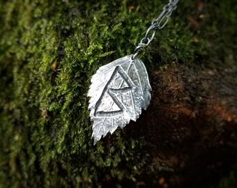 Viking Rune - Berkana - Betula Birch Leaf - Handmade Fine Silver Pendant by Quintessential Arts