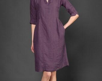 Purple linen dress, collar dress, womens dresses, linen summer dresses, clothing for woman, linen dress, casual dress, organic