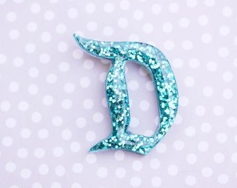 Turquoise Disney D Brooch  - Classic Disney D Pin - Teal Disney D Brooch