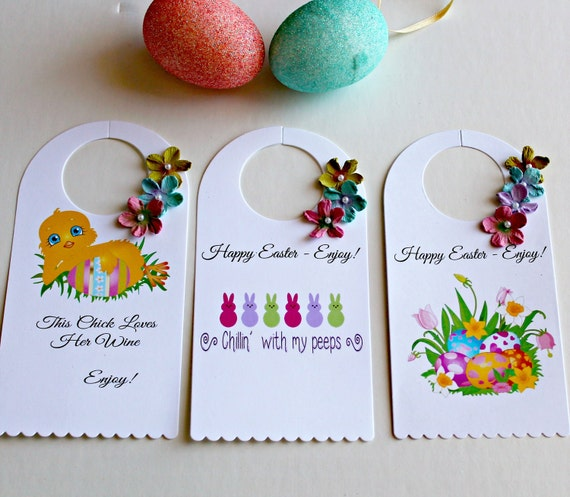Easter wine bottle gift tags set of 3 wine bottle tags like this item negle Images
