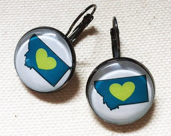 Montana LOVE Earrings - available in Montana Grizzlies, Montana Bobcats, Carroll College colors