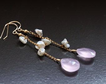 Rose Quartz Earrings, Keshi Keishi Pearls, 14k Gold Filled, Rolo Chain, Wire Wrapped, Pink Gemstone Earrings, Long Dangly - Audrey