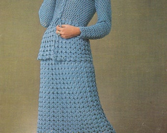 Crochet jacket pattern suit top and skirt vintage crochet pattern pdf INSTANT download pattern only pdf 1970s women's