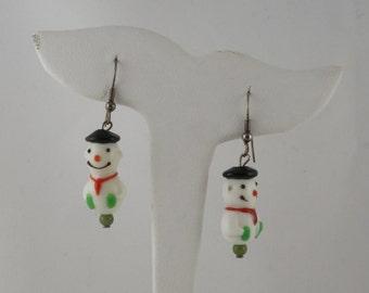 Snowman Earrings / Lampwork Snowman Earrings