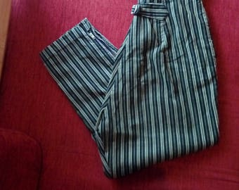 1950s Pedal Pushers 50s Capris Striped Cigarette Pants Corduroy Cinch Back Zip up side High Rise VLV Rockabilly Pants W26-27 S to M