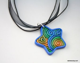 Blue, Green and Gold Star Necklace in Fimo Filigree