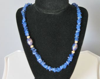 Lapis Chips Necklace / Vtg / Blue Lapis Chips Necklace with Closonne Beads
