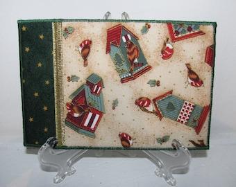 Quilted Postcard, Fabric Postcard, Mini Art Quilt, Birdhouses on Cream, Christmas