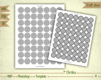 """1"""" Circles - Digital Collage Sheet Layered Template - (T041)"""