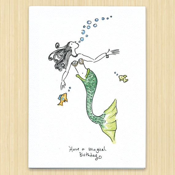 Mermaid birthday card have a magical birthday greeting card like this item bookmarktalkfo Images