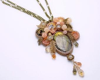Boho labradorite necklace, flower beaded exclusive handmade jewelry, gemstone jewelry, seed bead pendant, orange copper OOAK floren beadwork