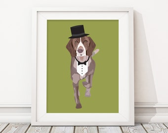 Fancy Pet Portrait Illustration -Custom Dog Pop Art Caricature - Personalized Gift or Pet Memorial Remembrance Artwork Keepsake Print or PDF