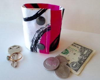 Secret Stash Money Wrist  Cuff - Watermelon -NEW PRINT - hide your cash, coins, key, jewels, health info in a secret inside zipper...