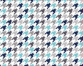 Medium Houndstooth in Blue and Gray on White by Riley Blake  - you pick the cut
