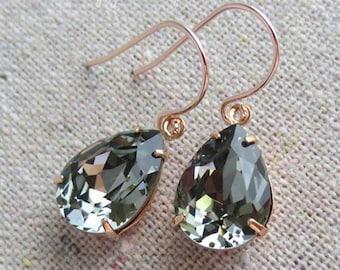 Swarovski Crystal Black Diamond Teardrop Simple Delicate Dangling Rose Gold Bridal Earrings Wedding Jewelry Bridesmaids Gifts