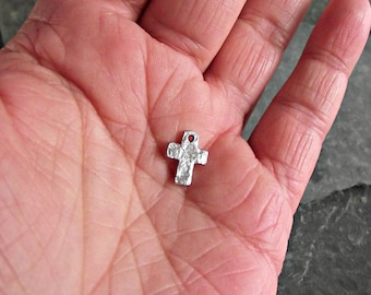 Hammered Tiny Silver Cross Charm Pewter C-66,hammered cross charm,small silver cross,small cross charm,silver cross charm,bracelet charms