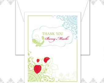 Strawberry Butterfly Stationery of 10 with envelopes