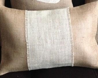 Handmade Fall natural & cream burlap rectangle pillow cover